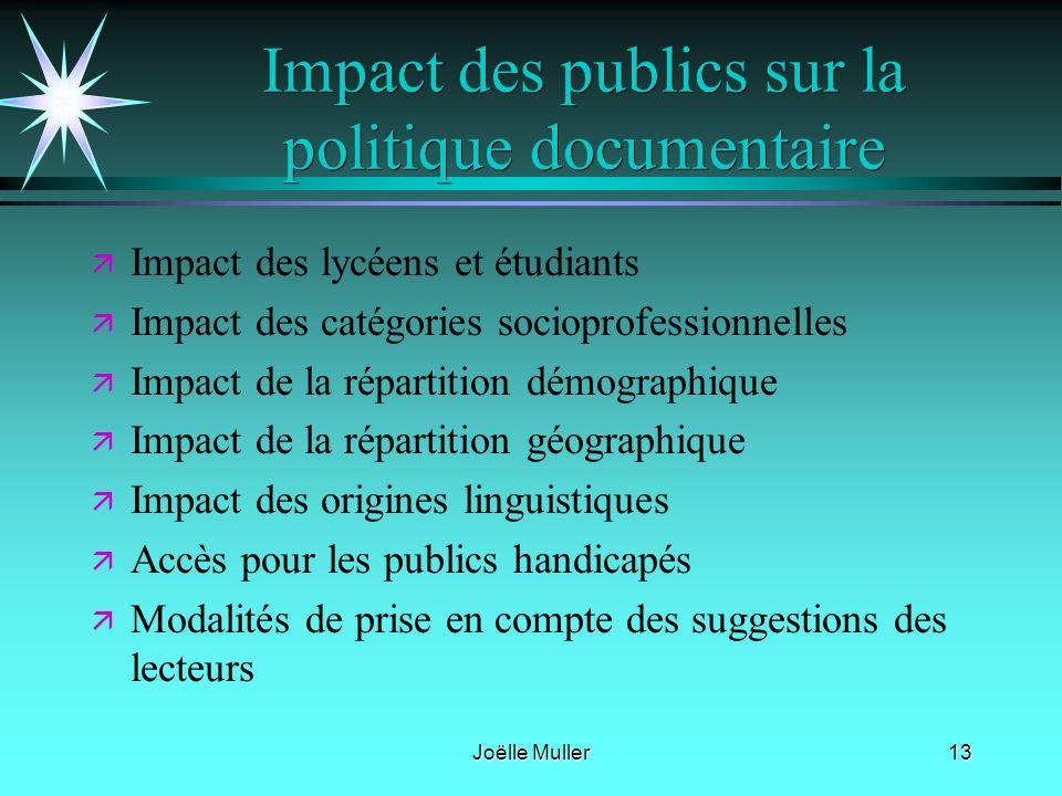 Joëlle Muller13 Impact des publics sur la politique documentaire ä ä Impact des lycéens et étudiants ä ä Impact des catégories socioprofessionnelles ä