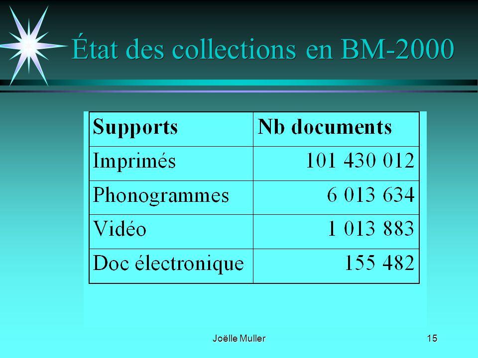 Joëlle Muller15 État des collections en BM-2000