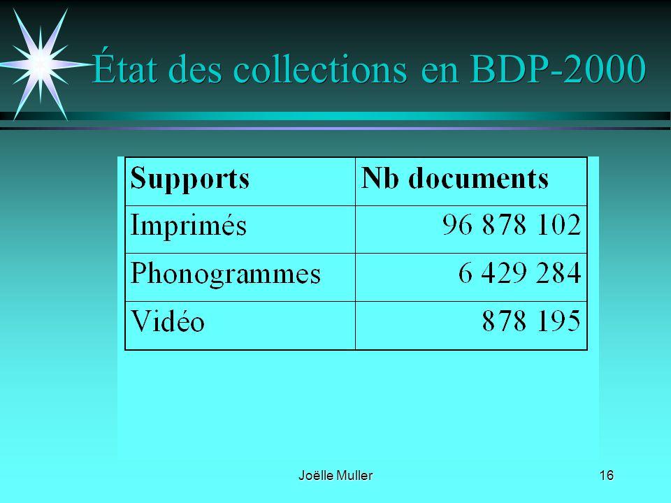 Joëlle Muller16 État des collections en BDP-2000