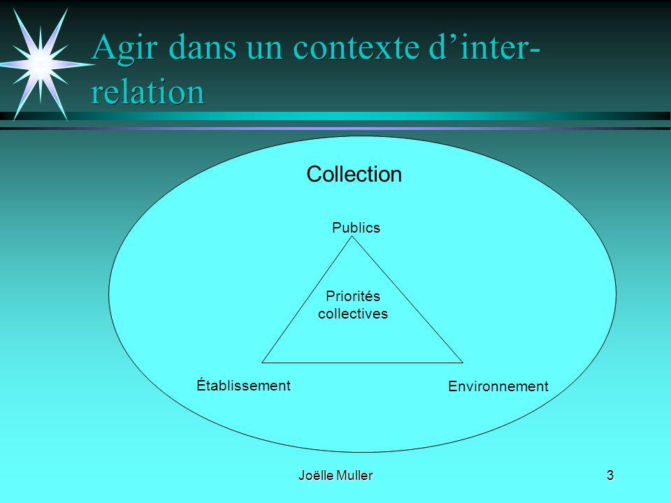Joëlle Muller3 Agir dans un contexte dinter- relation Priorités collectives Publics Établissement Environnement Collection