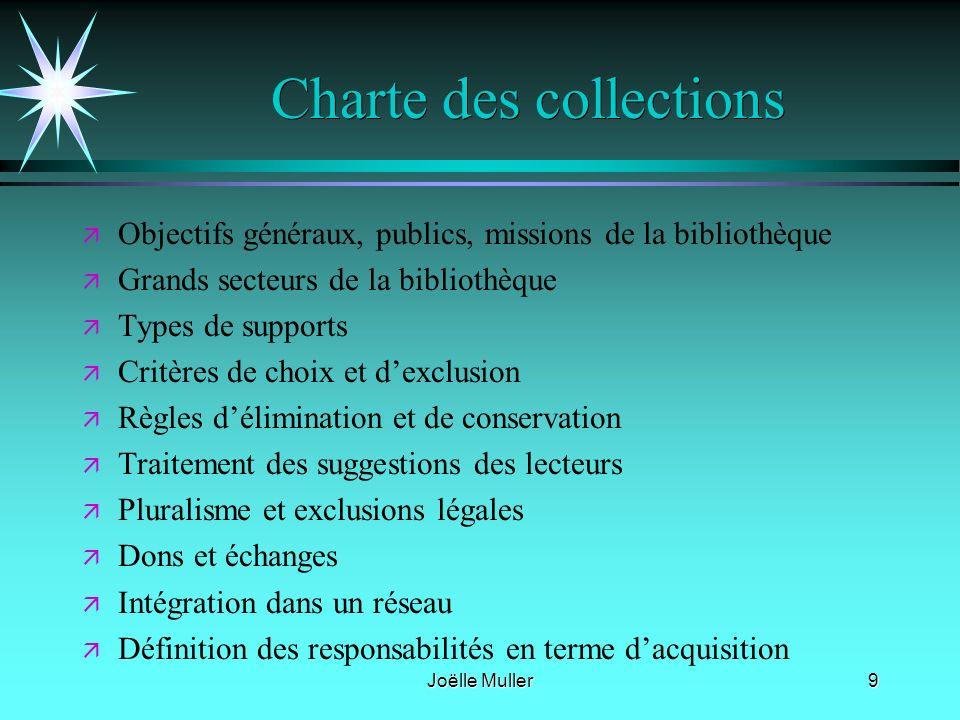 Joëlle Muller9 Charte des collections ä ä Objectifs généraux, publics, missions de la bibliothèque ä ä Grands secteurs de la bibliothèque ä ä Types de