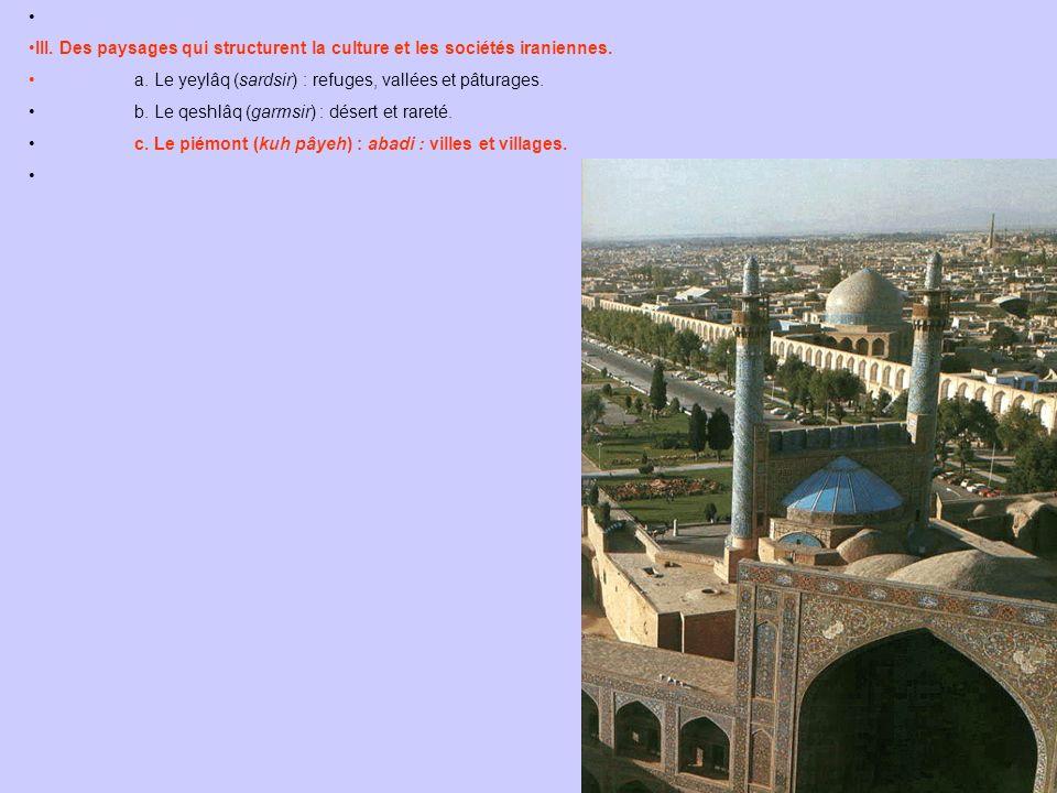 III. Des paysages qui structurent la culture et les sociétés iraniennes. a. Le yeylâq (sardsir) : refuges, vallées et pâturages. b. Le qeshlâq (garmsi