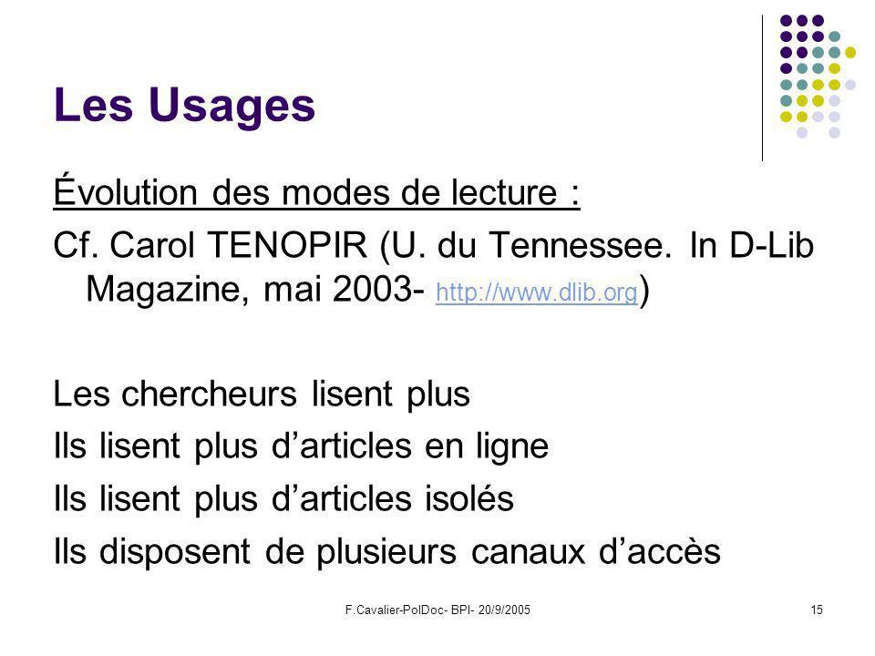 F.Cavalier-PolDoc- BPI- 20/9/200515 Les Usages Évolution des modes de lecture : Cf.
