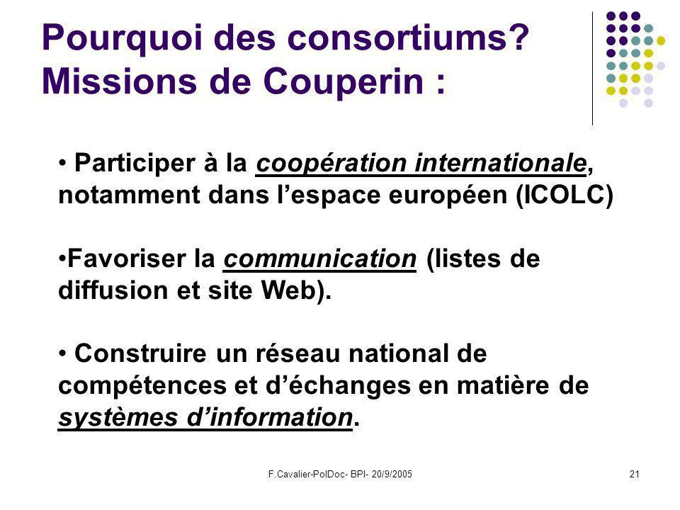 F.Cavalier-PolDoc- BPI- 20/9/200521 Pourquoi des consortiums.