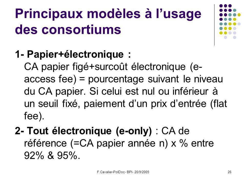F.Cavalier-PolDoc- BPI- 20/9/200526 Principaux modèles à lusage des consortiums 1- Papier+électronique : CA papier figé+surcoût électronique (e- access fee) = pourcentage suivant le niveau du CA papier.