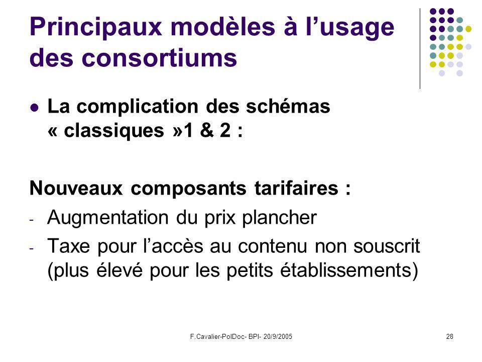 F.Cavalier-PolDoc- BPI- 20/9/200528 Principaux modèles à lusage des consortiums La complication des schémas « classiques »1 & 2 : Nouveaux composants tarifaires : - Augmentation du prix plancher - Taxe pour laccès au contenu non souscrit (plus élevé pour les petits établissements)