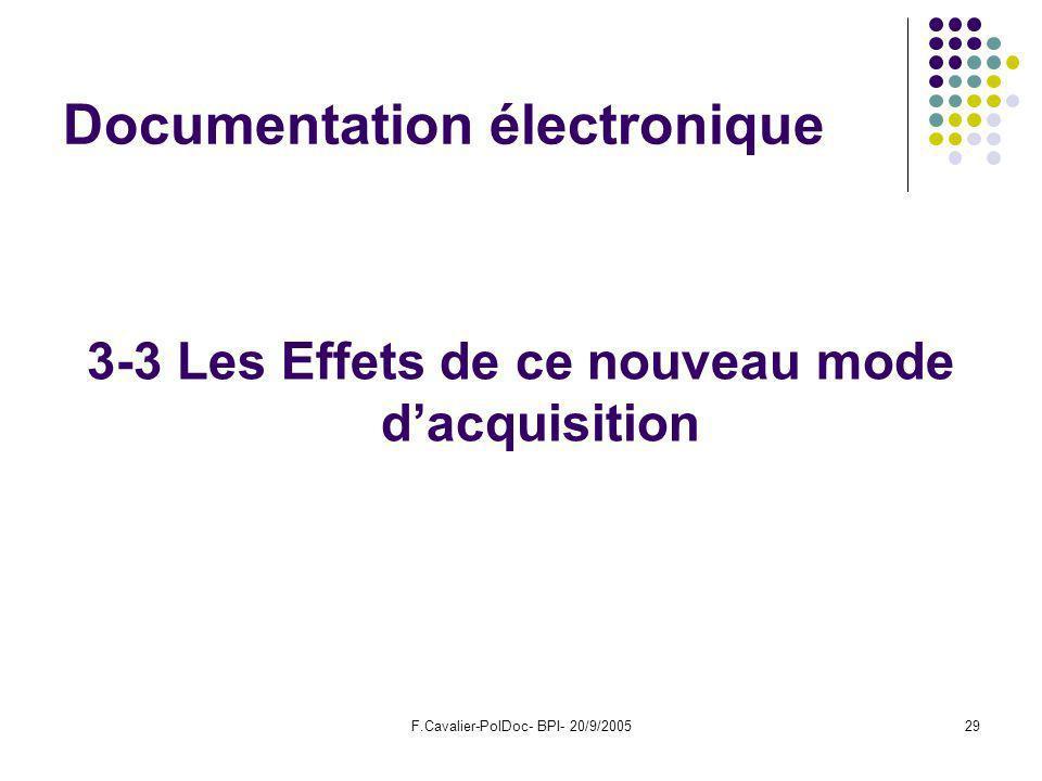 F.Cavalier-PolDoc- BPI- 20/9/200529 Documentation électronique 3-3 Les Effets de ce nouveau mode dacquisition