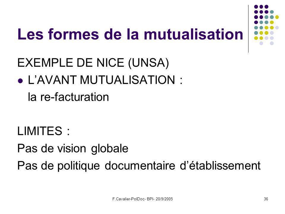 F.Cavalier-PolDoc- BPI- 20/9/200536 Les formes de la mutualisation EXEMPLE DE NICE (UNSA) LAVANT MUTUALISATION : la re-facturation LIMITES : Pas de vision globale Pas de politique documentaire détablissement