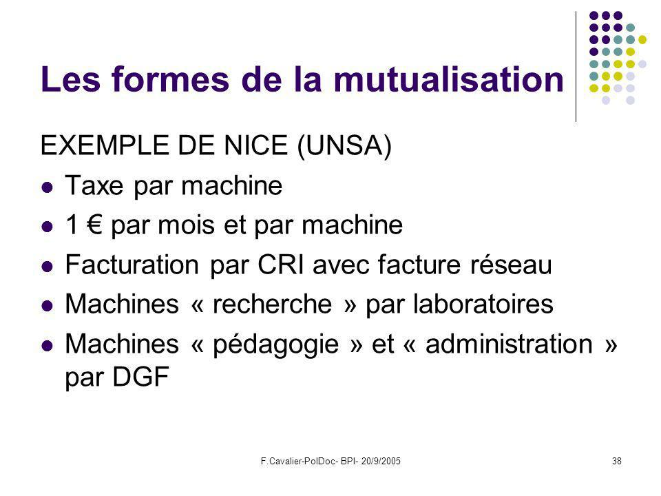 F.Cavalier-PolDoc- BPI- 20/9/200538 Les formes de la mutualisation EXEMPLE DE NICE (UNSA) Taxe par machine 1 par mois et par machine Facturation par CRI avec facture réseau Machines « recherche » par laboratoires Machines « pédagogie » et « administration » par DGF