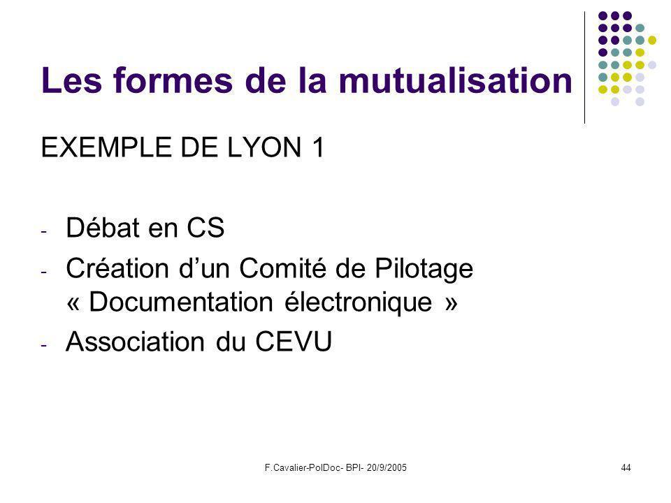 F.Cavalier-PolDoc- BPI- 20/9/200544 Les formes de la mutualisation EXEMPLE DE LYON 1 - Débat en CS - Création dun Comité de Pilotage « Documentation électronique » - Association du CEVU
