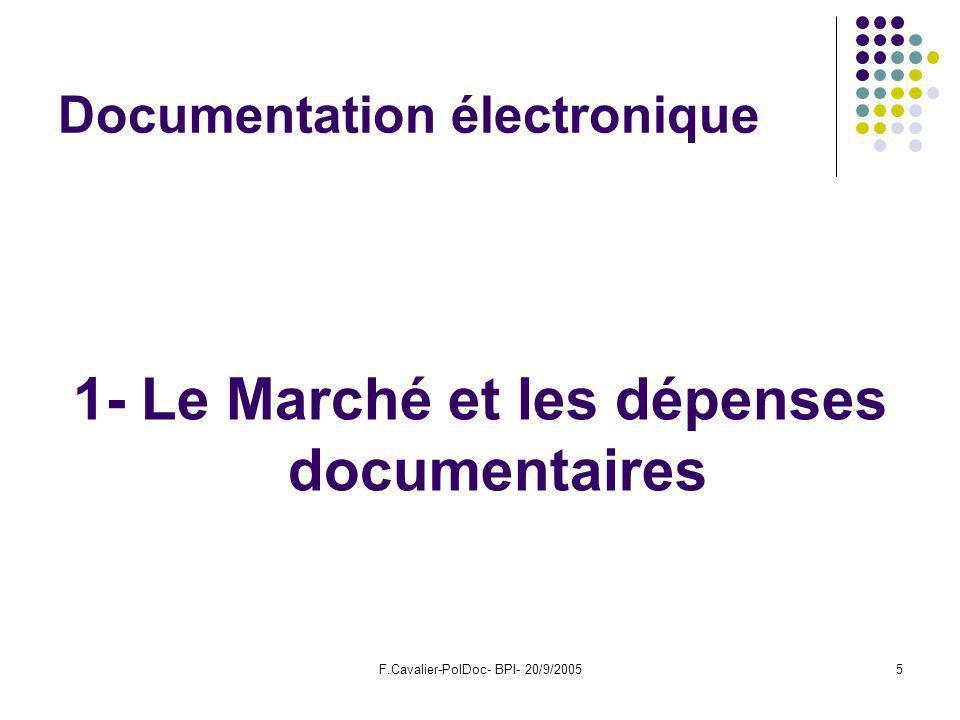 F.Cavalier-PolDoc- BPI- 20/9/20055 Documentation électronique 1- Le Marché et les dépenses documentaires
