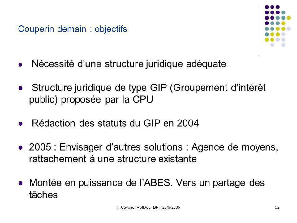 F.Cavalier-PolDoc- BPI- 20/9/200552 Couperin demain : objectifs Nécessité dune structure juridique adéquate Structure juridique de type GIP (Groupement dintérêt public) proposée par la CPU Rédaction des statuts du GIP en 2004 2005 : Envisager dautres solutions : Agence de moyens, rattachement à une structure existante Montée en puissance de lABES.