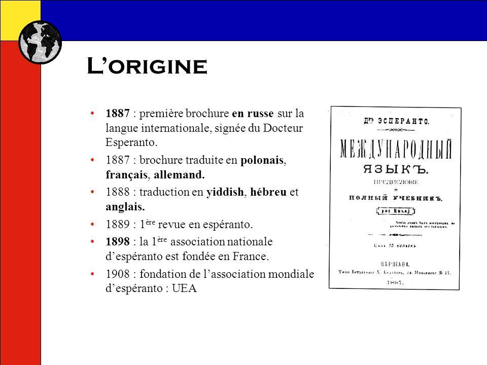 Une langue qui senrichit Les espérantophones enrichissent le lexique : 1 er livre de 1887 : 920 racines dans la partie « dictionnaire » dictionnaires actuels : de 15 à 20 000 racines permettent de former plus de 100 000 mots.