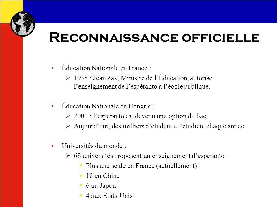 Reconnaissance officielle UNESCO : LAssociation Mondiale dEspéranto U.E.A.