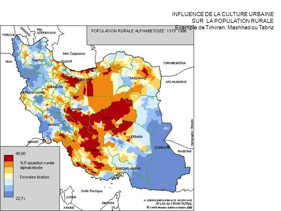 INFLUENCE DE LA CULTURE URBAINE SUR LA POPULATION RURALE Exemple de T é h é ran, Mashhad ou Tabriz