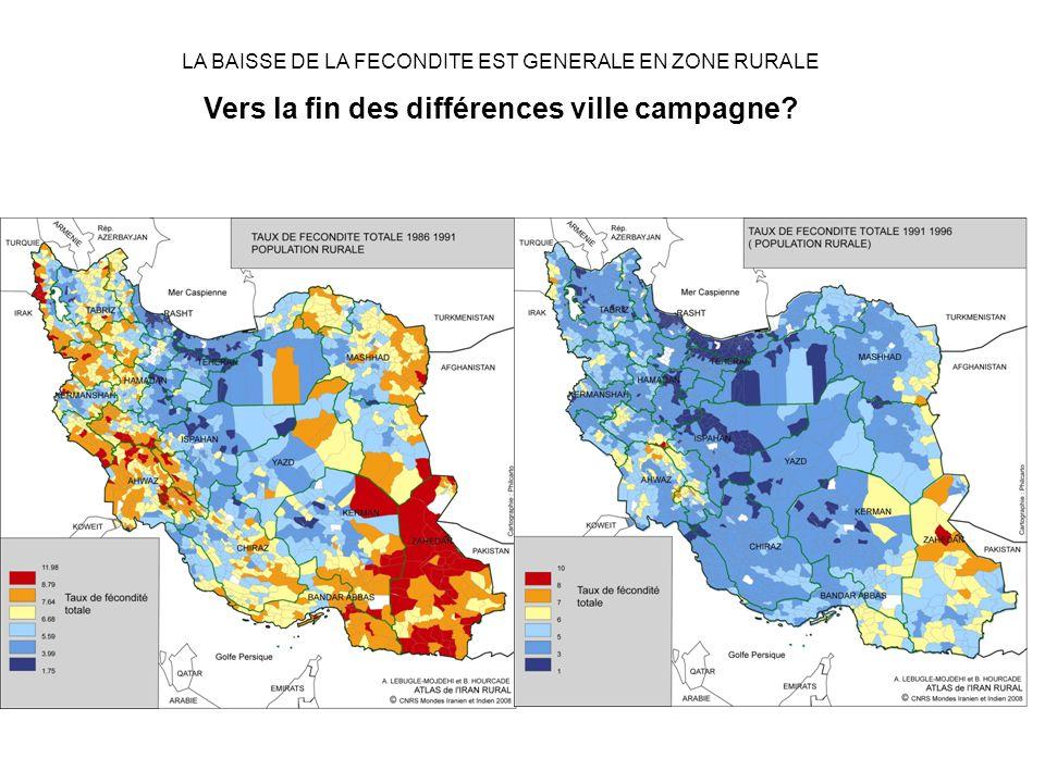 LA BAISSE DE LA FECONDITE EST GENERALE EN ZONE RURALE Vers la fin des différences ville campagne
