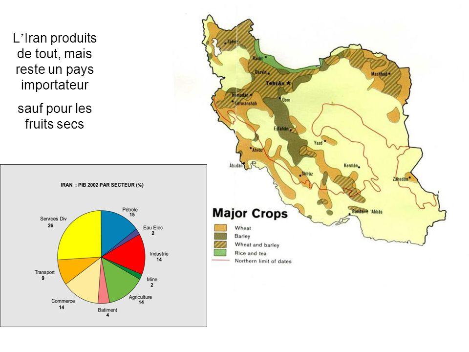 L Iran produits de tout, mais reste un pays importateur sauf pour les fruits secs