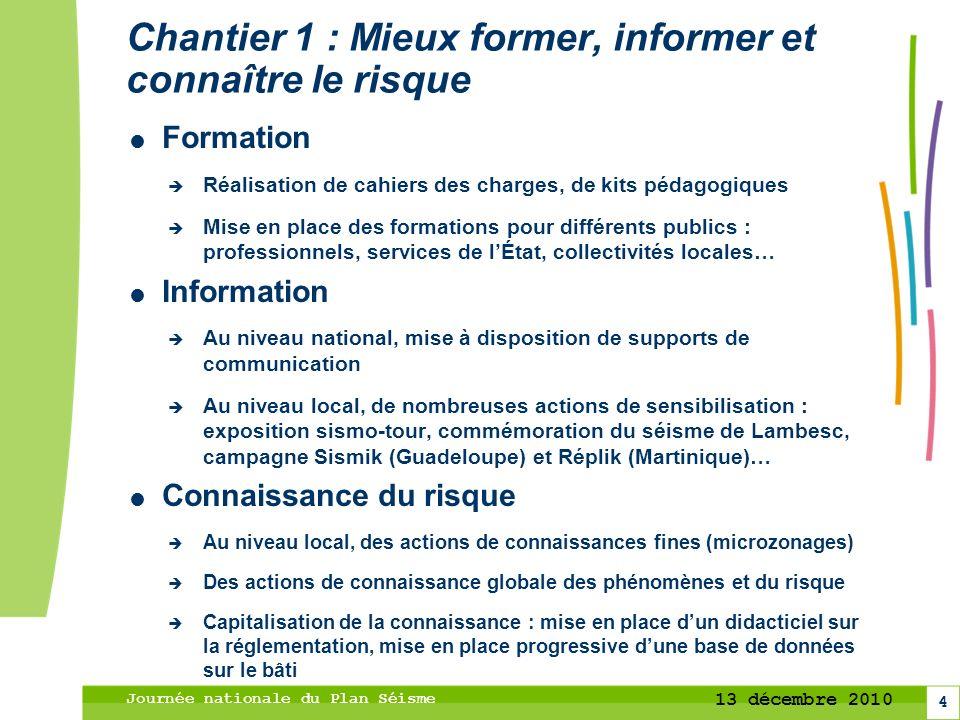 4 13 décembre 2010 Journée nationale du Plan Séisme Chantier 1 : Mieux former, informer et connaître le risque Formation Réalisation de cahiers des ch