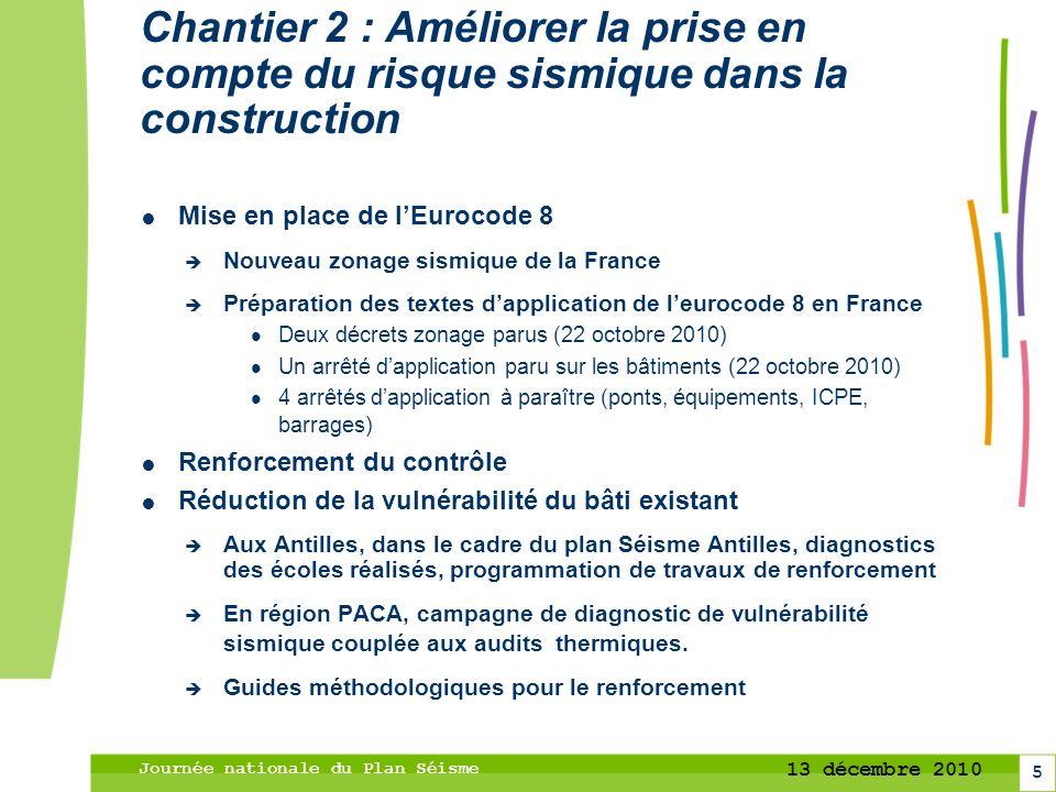 6 13 décembre 2010 Journée nationale du Plan Séisme Chantier 3 : Concerter, coopérer et communiquer entre les acteurs du risque Territorialisation du Plan Séisme Pyrénées, grand Ouest, PACA, Rhône-Alpes..