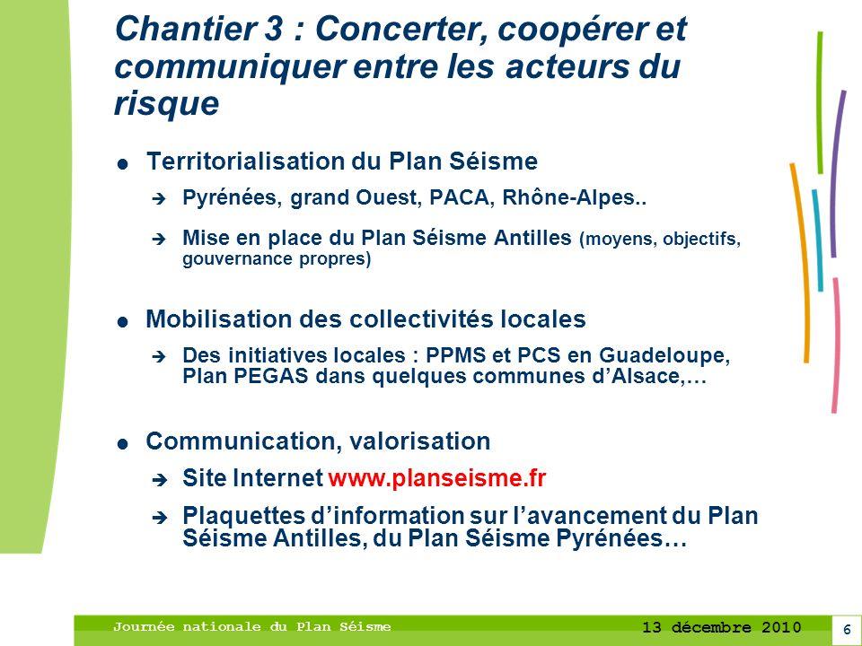 6 13 décembre 2010 Journée nationale du Plan Séisme Chantier 3 : Concerter, coopérer et communiquer entre les acteurs du risque Territorialisation du