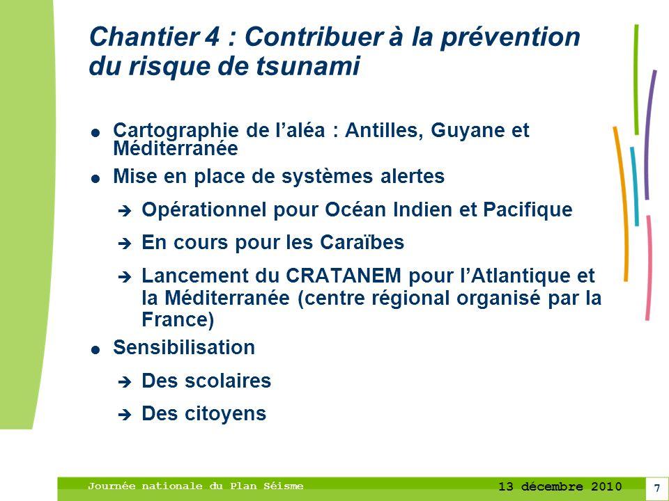 7 13 décembre 2010 Journée nationale du Plan Séisme Chantier 4 : Contribuer à la prévention du risque de tsunami Cartographie de laléa : Antilles, Guy