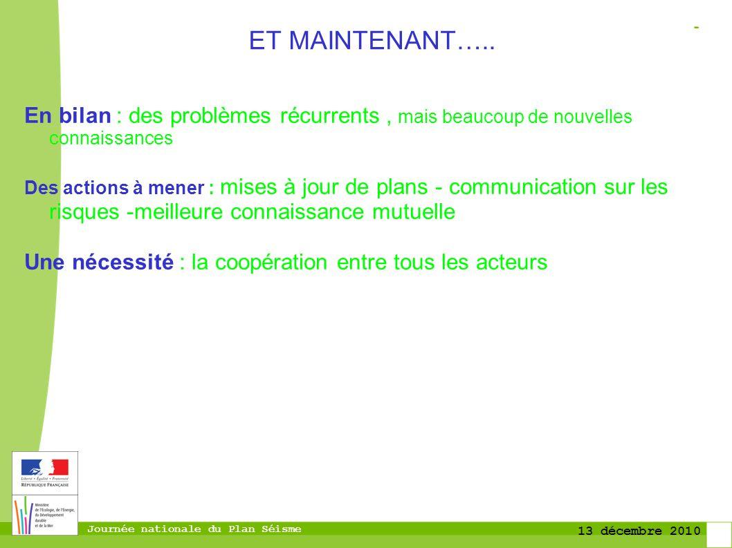 Journée nationale du Plan Séisme 13 décembre 2010 ET MAINTENANT…..