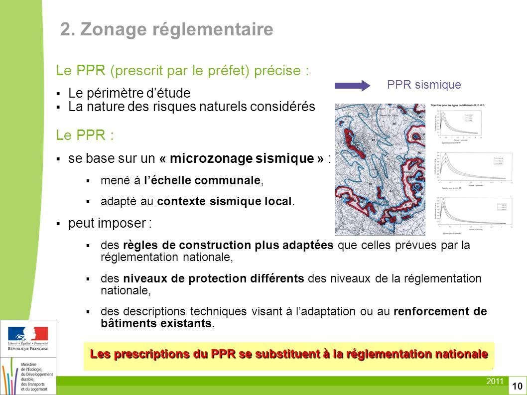 2011 10 Le PPR (prescrit par le préfet) précise : Le périmètre détude La nature des risques naturels considérés Le PPR : se base sur un « microzonage