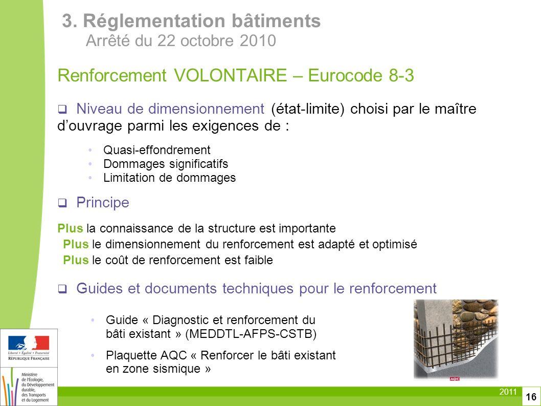 2011 16 Renforcement VOLONTAIRE – Eurocode 8-3 Niveau de dimensionnement (état-limite) choisi par le maître douvrage parmi les exigences de : Quasi-ef