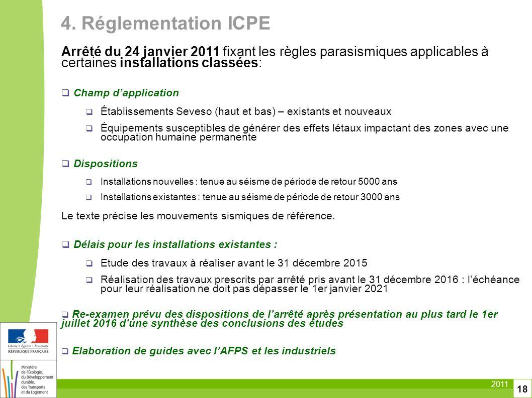 2011 18 4. Réglementation ICPE Arrêté du 24 janvier 2011 fixant les règles parasismiques applicables à certaines installations classées: Champ dapplic