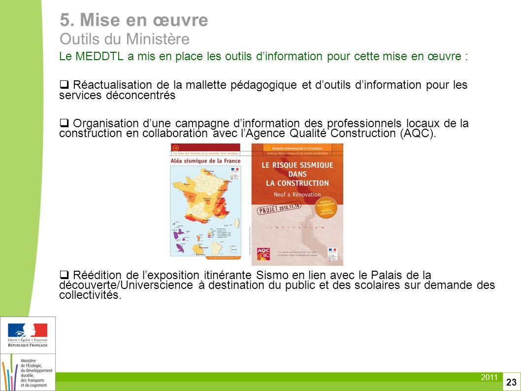 2011 23 Le MEDDTL a mis en place les outils dinformation pour cette mise en œuvre : Réactualisation de la mallette pédagogique et doutils dinformation