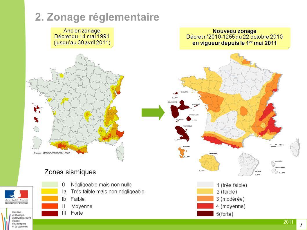 2011 7 Zones sismiques Nouveau zonage Décret n°2010-1255 du 22 octobre 2010 en vigueur depuis le 1 er mai 2011 2. Zonage réglementaire Ancien zonage D