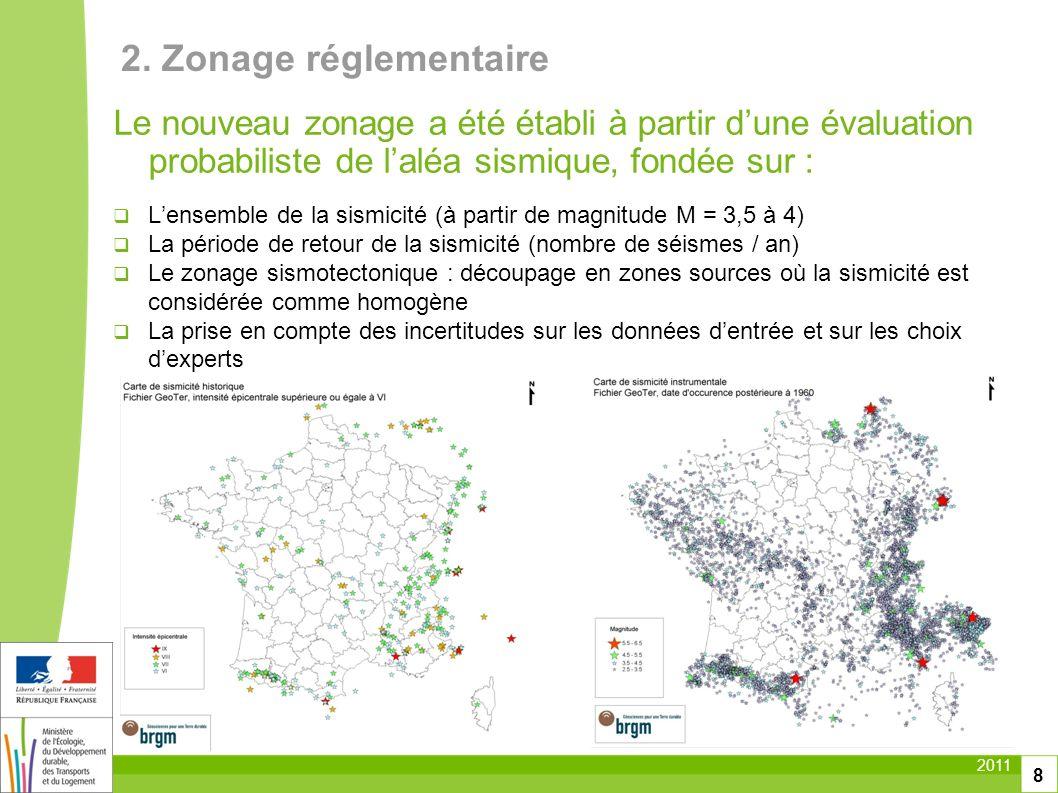 2011 8 Le nouveau zonage a été établi à partir dune évaluation probabiliste de laléa sismique, fondée sur : Lensemble de la sismicité (à partir de mag