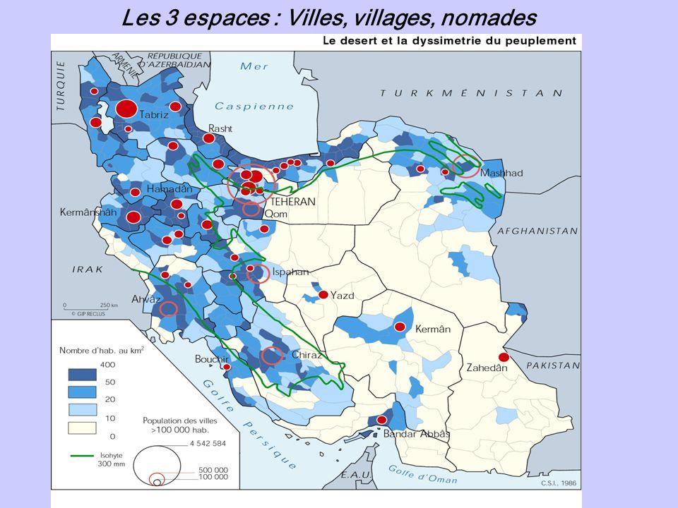 Les 3 espaces : Villes, villages, nomades