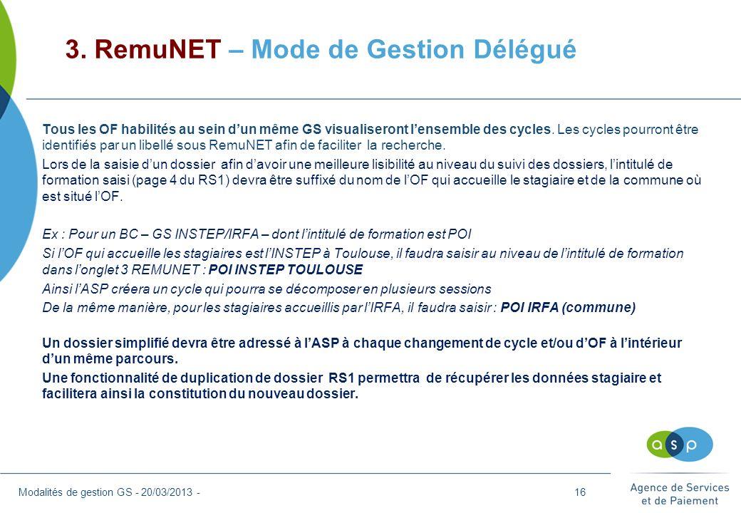 3. RemuNET – Mode de Gestion Délégué Modalités de gestion GS - 20/03/2013 - Tous les OF habilités au sein dun même GS visualiseront lensemble des cycl