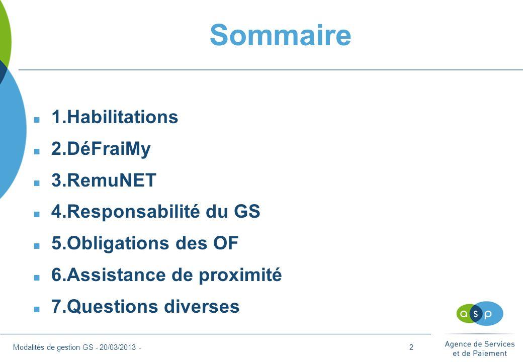 1.Habilitations Modalités de gestion GS - 20/03/2013 -3