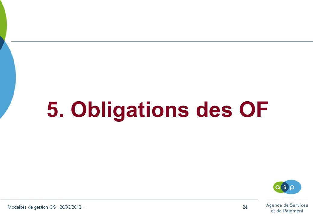 5. Obligations des OF Modalités de gestion GS - 20/03/2013 -24