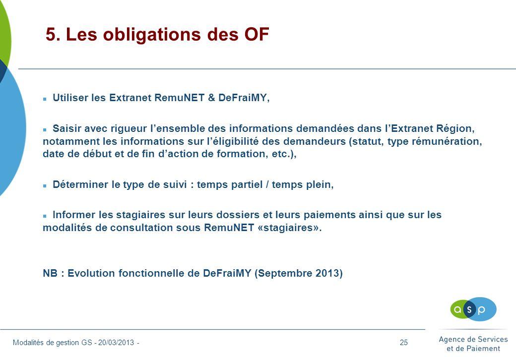 5. Les obligations des OF Modalités de gestion GS - 20/03/2013 - n Utiliser les Extranet RemuNET & DeFraiMY, n Saisir avec rigueur lensemble des infor