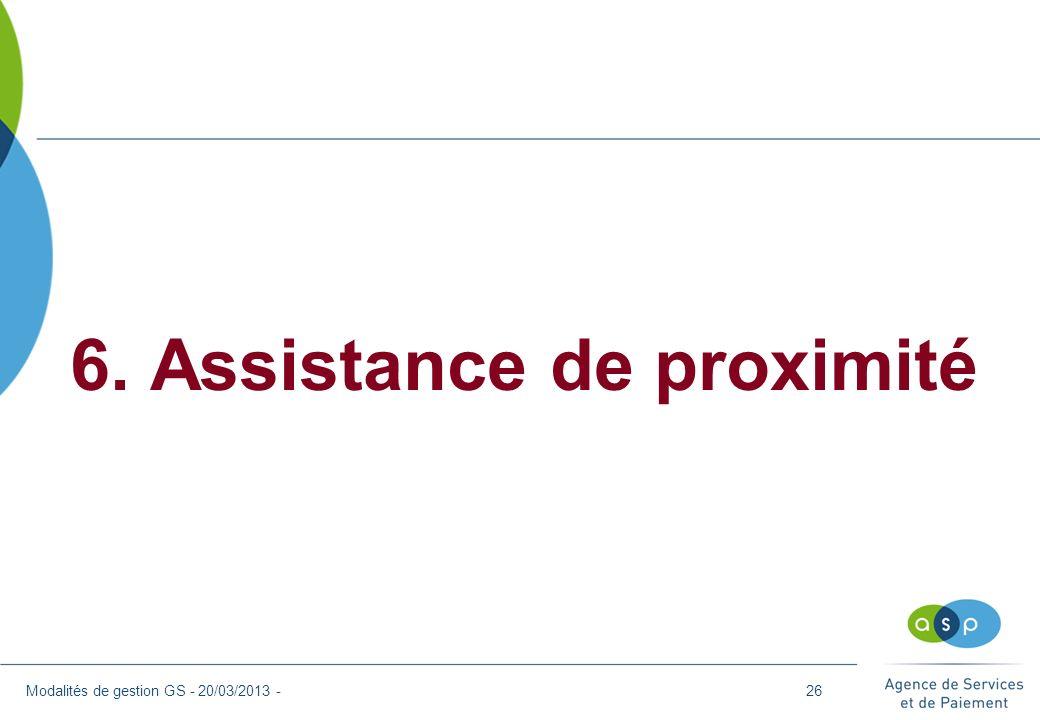 6. Assistance de proximité Modalités de gestion GS - 20/03/2013 -26