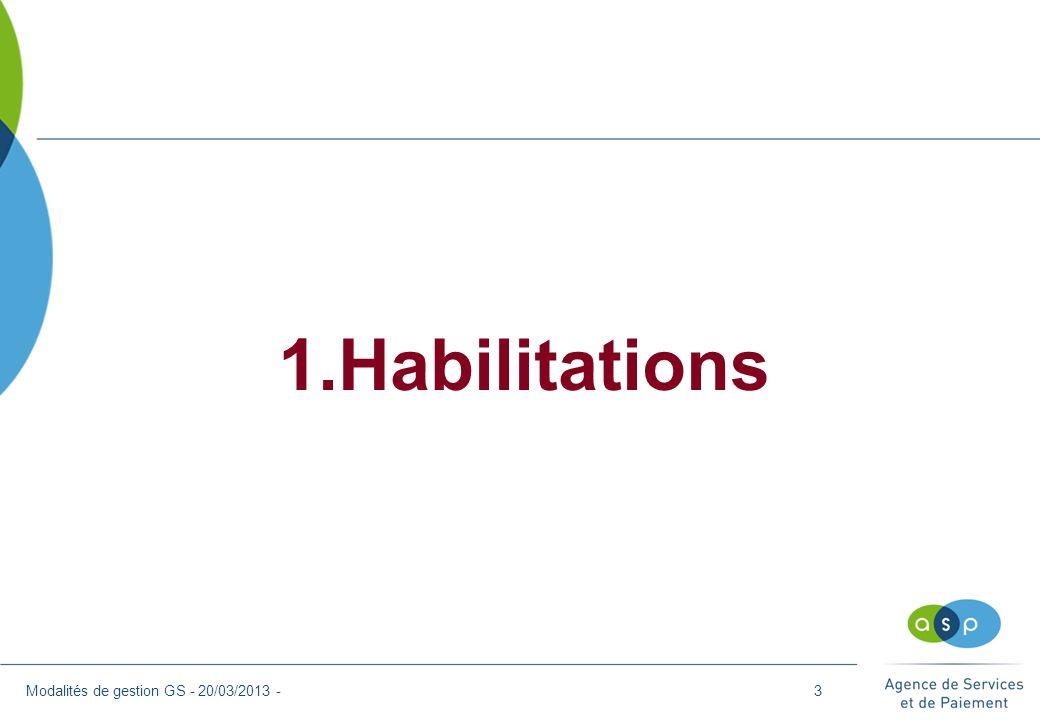 1.Habilitations - Mode de gestion > Mode de gestion délégué : Le mandataire du GS délègue la gestion des dossiers de demande aux différents OF intervenants sur le parcours.