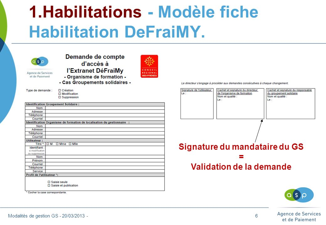 1.Habilitations - Modèle fiche Habilitation DeFraiMY. Modalités de gestion GS - 20/03/2013 - Signature du mandataire du GS = Validation de la demande