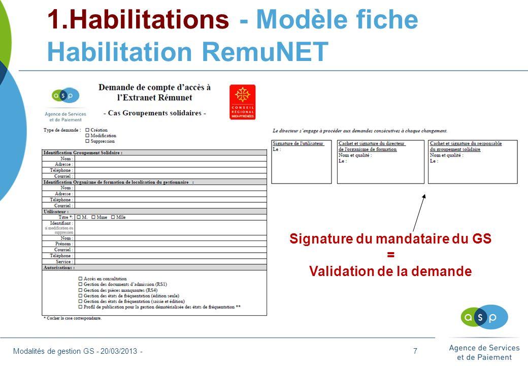 7. Questions diverses Modalités de gestion GS - 20/03/2013 -28