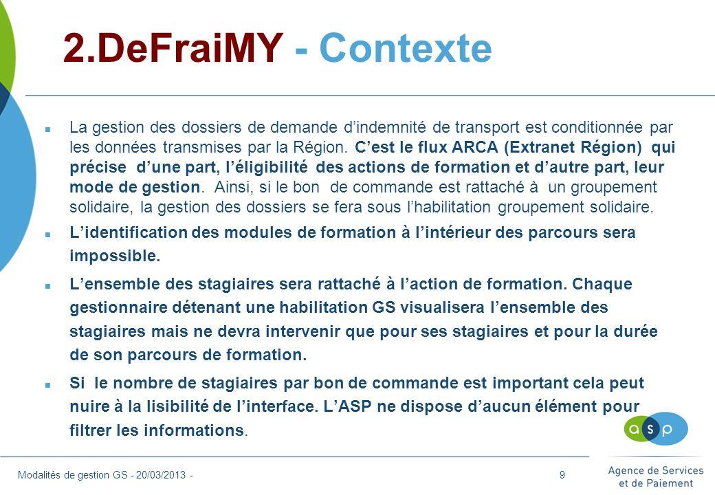2.DeFraiMY - Contexte Modalités de gestion GS - 20/03/2013 - n La gestion des dossiers de demande dindemnité de transport est conditionnée par les don