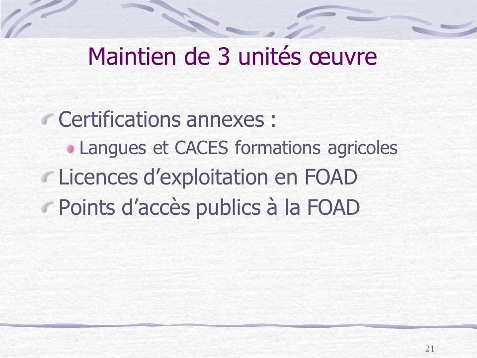 21 Maintien de 3 unités œuvre Certifications annexes : Langues et CACES formations agricoles Licences dexploitation en FOAD Points daccès publics à la FOAD
