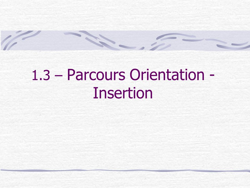 1.3 – Parcours Orientation - Insertion