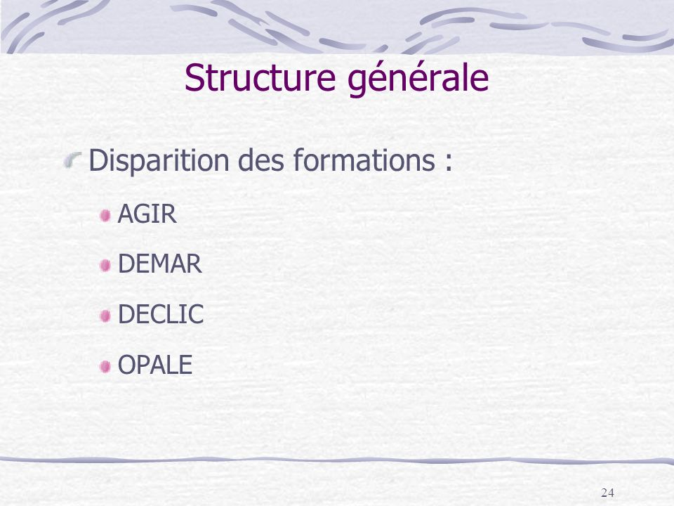 24 Structure générale Disparition des formations : AGIR DEMAR DECLIC OPALE