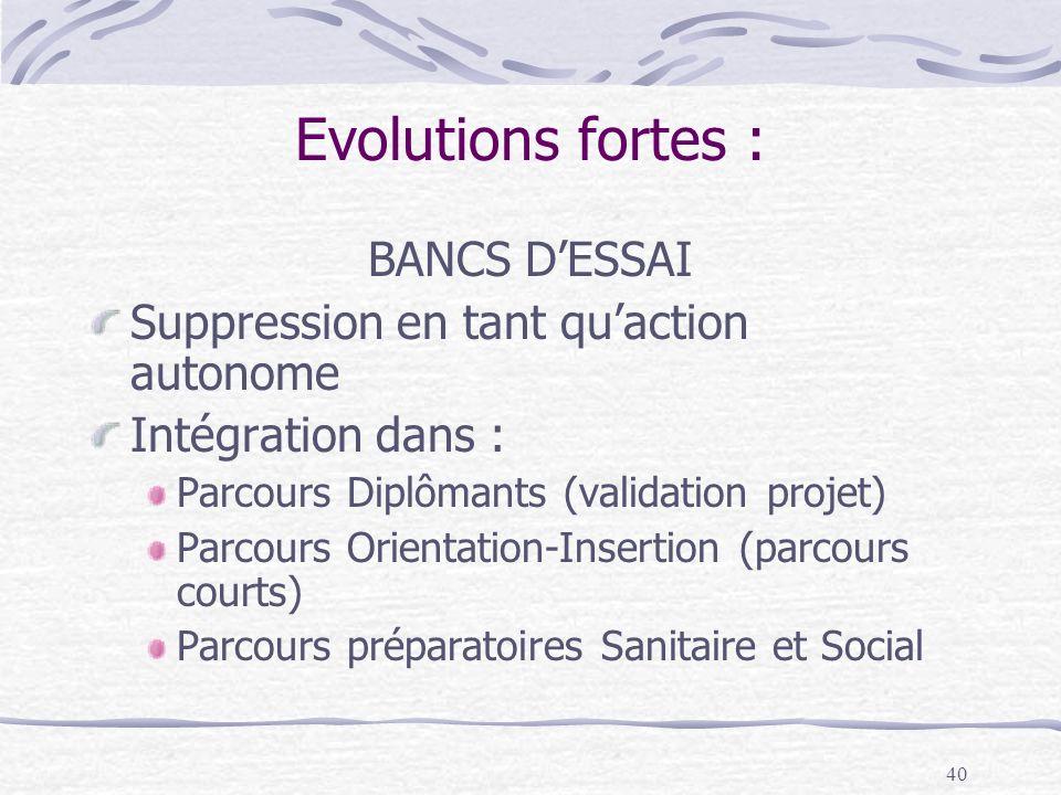 40 Evolutions fortes : BANCS DESSAI Suppression en tant quaction autonome Intégration dans : Parcours Diplômants (validation projet) Parcours Orientation-Insertion (parcours courts) Parcours préparatoires Sanitaire et Social