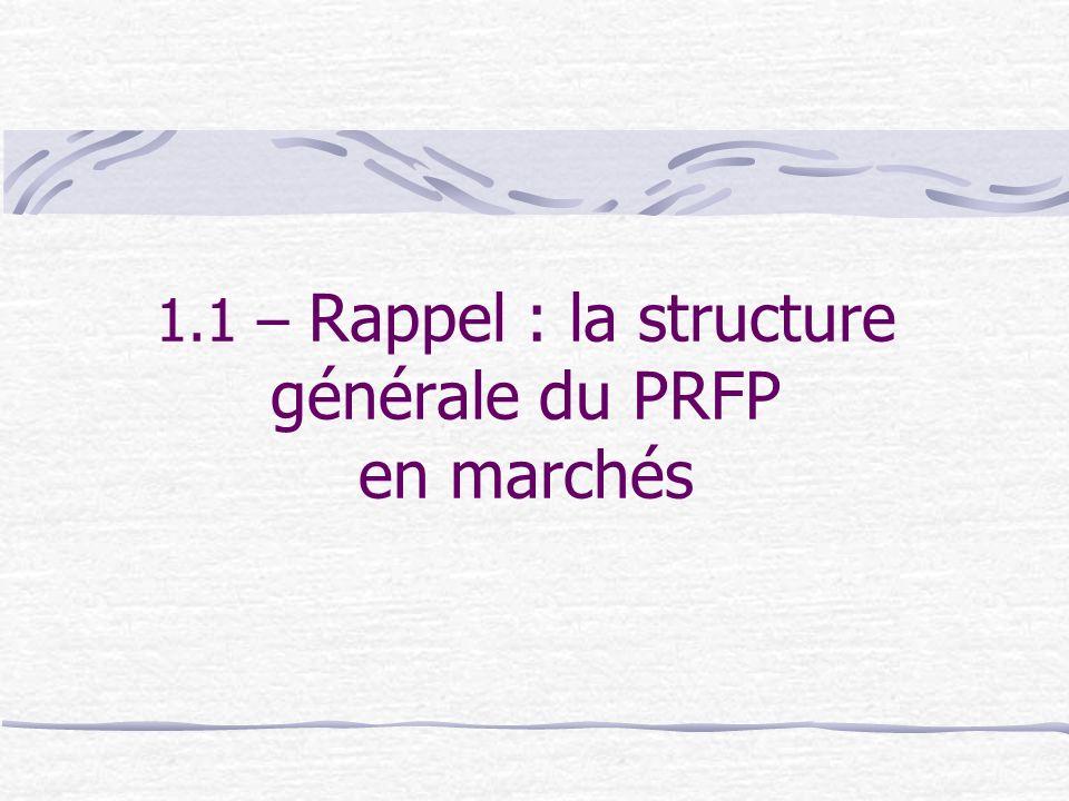 1.1 – Rappel : la structure générale du PRFP en marchés