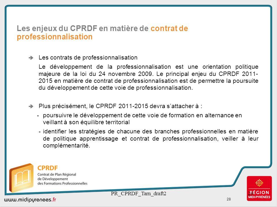 PR_CPRDF_Tarn_draft229 Les contrats de professionnalisation Le développement de la professionnalisation est une orientation politique majeure de la lo