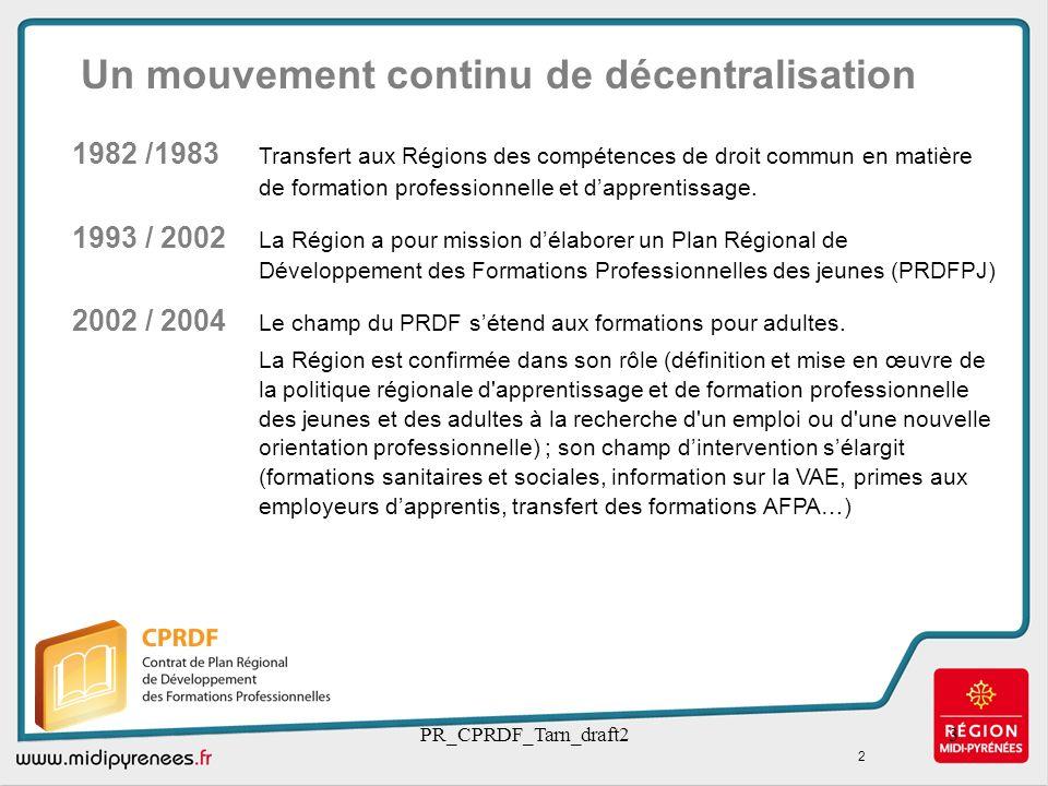 PR_CPRDF_Tarn_draft23 1982 /1983 Transfert aux Régions des compétences de droit commun en matière de formation professionnelle et dapprentissage. 1993