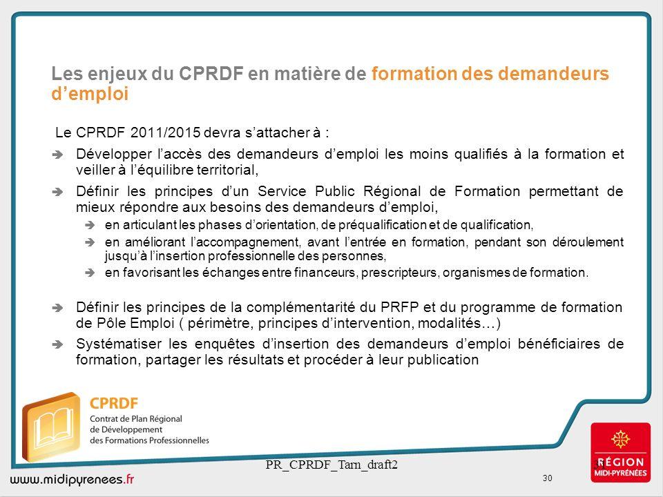 PR_CPRDF_Tarn_draft231 Le CPRDF 2011/2015 devra sattacher à : Développer laccès des demandeurs demploi les moins qualifiés à la formation et veiller à